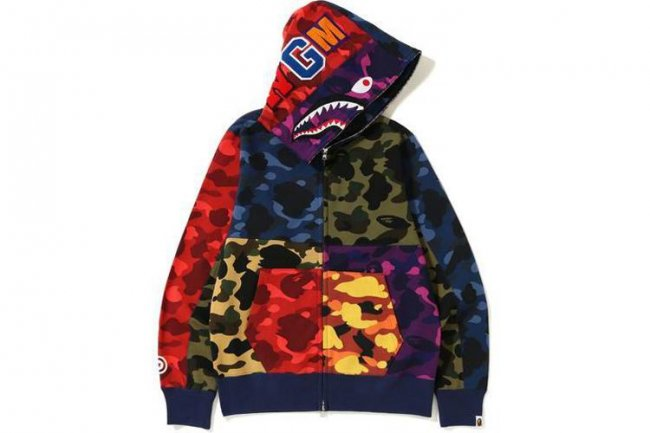 MIX CAMO CRAZY FULL ZIP SHARK HOODIE MENS
